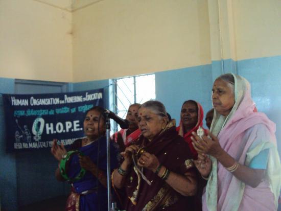 Senior Citizens singing a prayer song